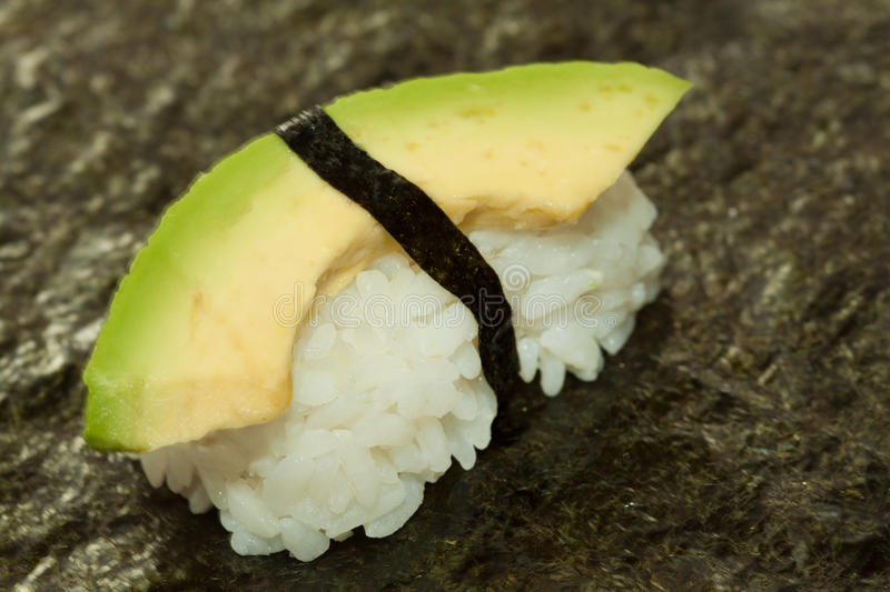 Nigiri Sushi Avocado on Sushirice royalty free stock image
