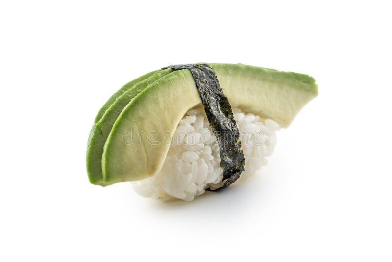 Nigiri sushi med avokadot som isoleras på vit arkivfoton