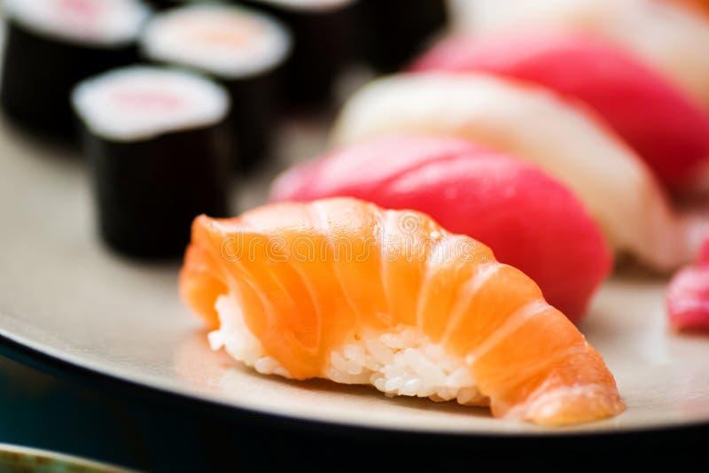 Nigiri sushi mix- closeup stock photography