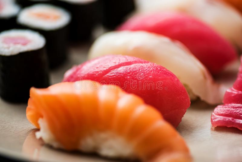 Nigiri sushi mix- very closeup royalty free stock images