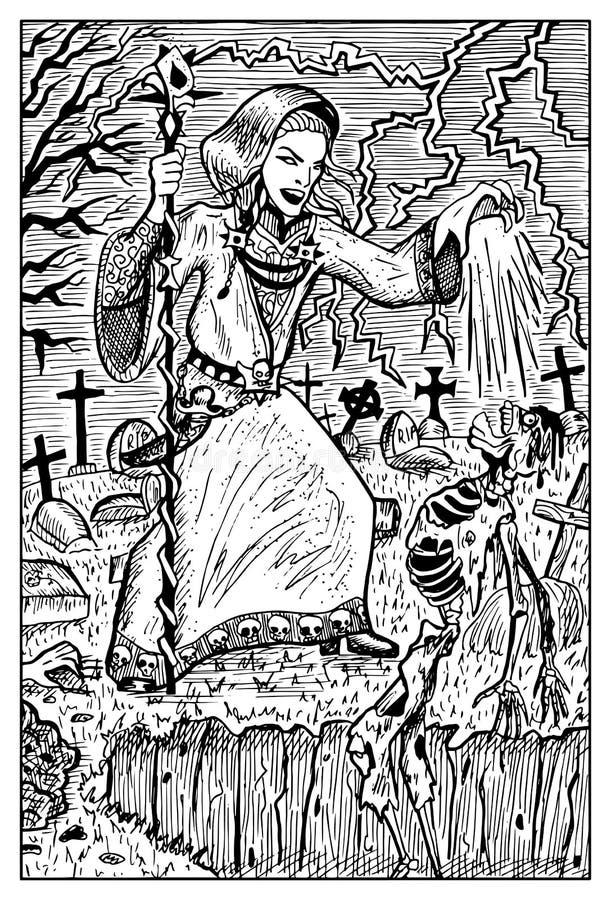 Nigromante y los undead Ejemplo grabado de la fantasía stock de ilustración
