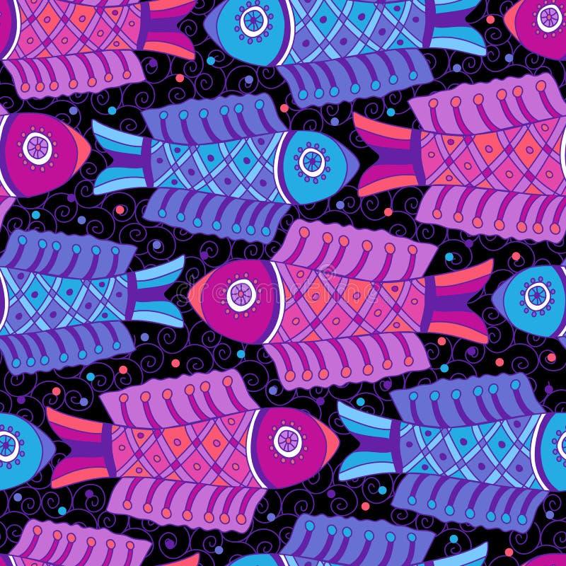 Nigt fiskar den sömlösa modellen vektor illustrationer