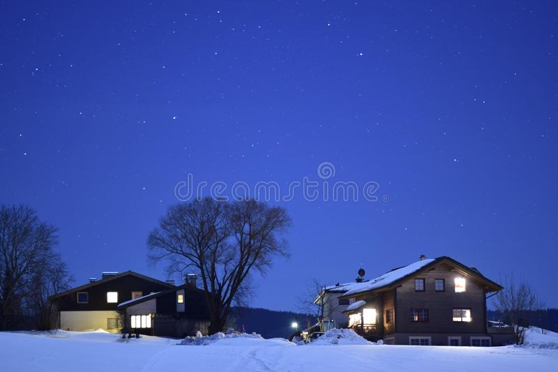 Nigt in the mountines. Silent night in Salzburg hills royalty free stock images