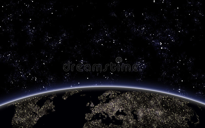 Nigth Sky With Planet Earth Royalty Free Stock Photography