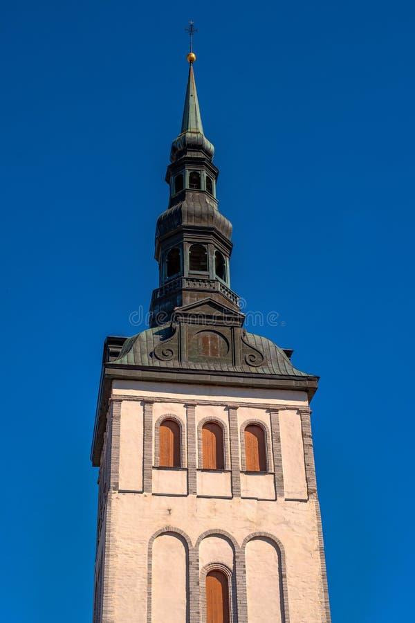 Nigulistekerk belfry Tallinn, Estland De Kerk heeft een Museum en een concertzaal royalty-vrije stock foto
