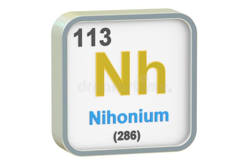 Nihonium chemical element, 3D rendering stock illustration