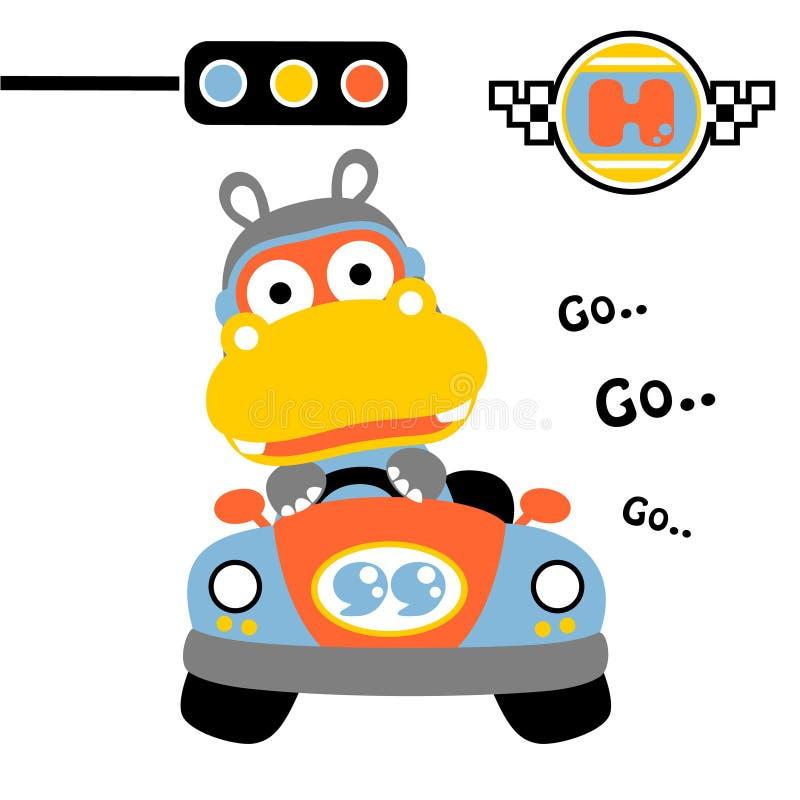 Nijlpaard op de auto, vectorbeeldverhaalillustratie royalty-vrije illustratie