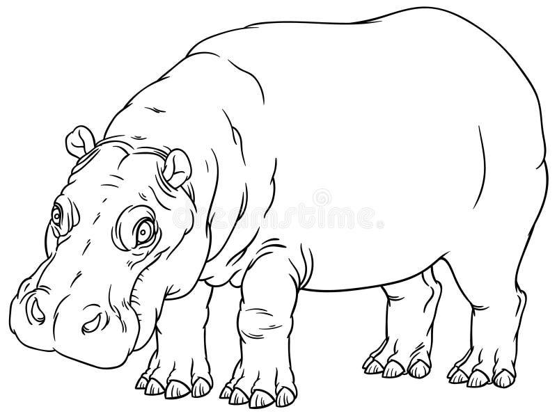 Nijlpaardamphibius of rivierpaard stock illustratie