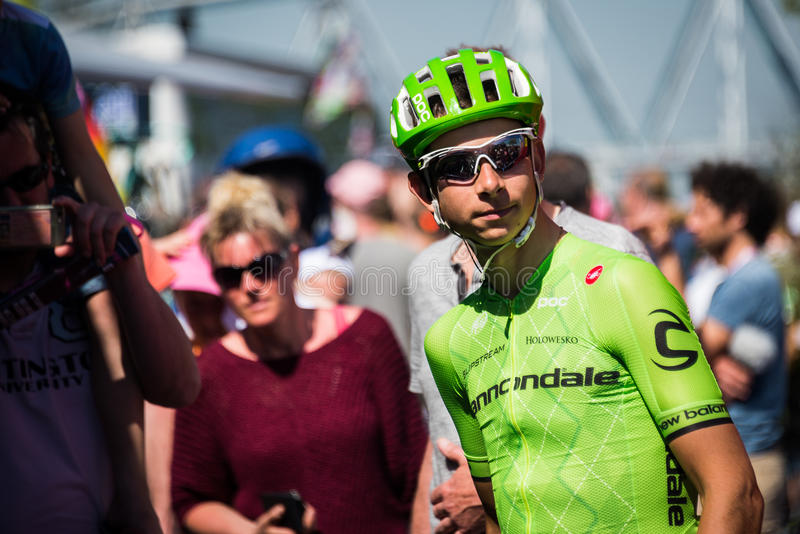 Nijmegen, Netherlands May 8, 2016; Davide Formolo professional cyclist concentrated before the start royalty free stock photos