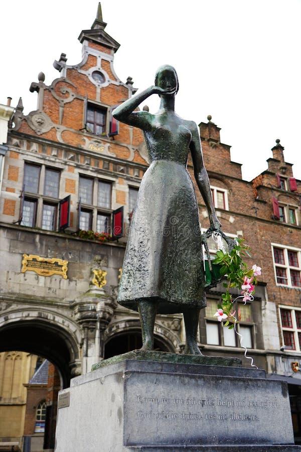 Nijmegen, The Netherlands - October 2, 2019: Statue of Mariken van Nieumeghen on the Grote Markt in Nijmegen royalty free stock photo