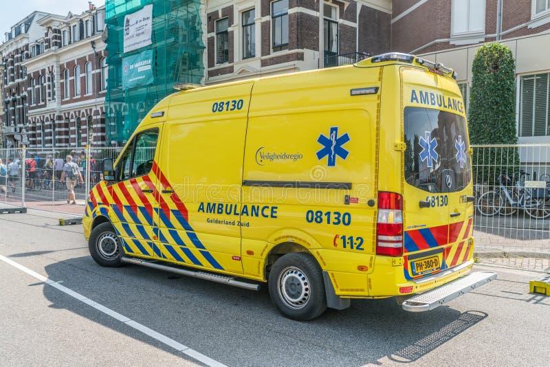 Dutch Ambulance. Nijmegen, The Netherlands 19th July 2018 - Ambulance just outside the Via Gladiola in Nijmegen stock photos