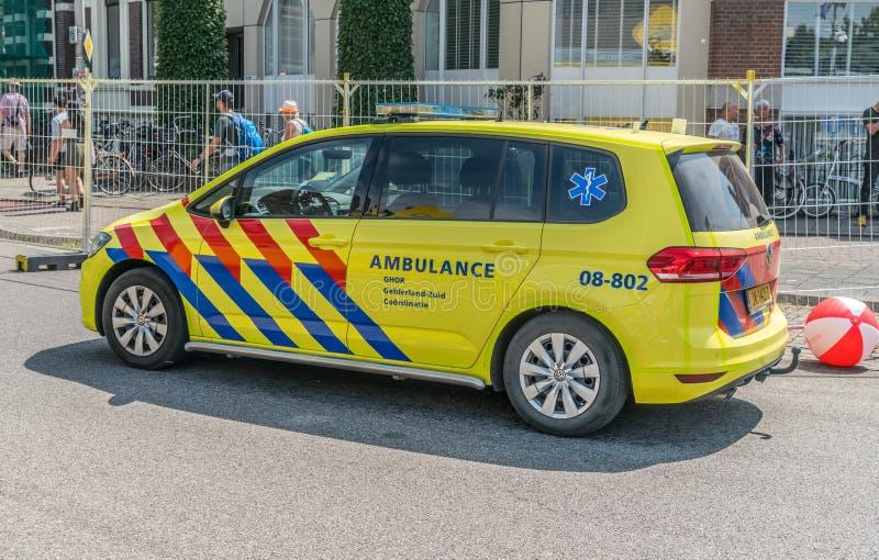 Small Ambulance in the Netherlands. Nijmegen, The Netherlands 19th July 2018 - Small ambulance just outside the Via Gladiola in Nijmegen stock photo
