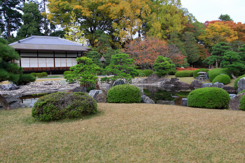 Nijo castle in colorful leaf and tree in japan stock photography