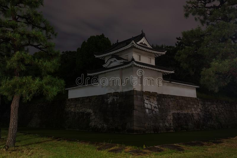 Nijo castle and its surrounding moat by night royalty free stock photos