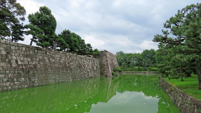 Nijo castle moat in Kyoto stock images