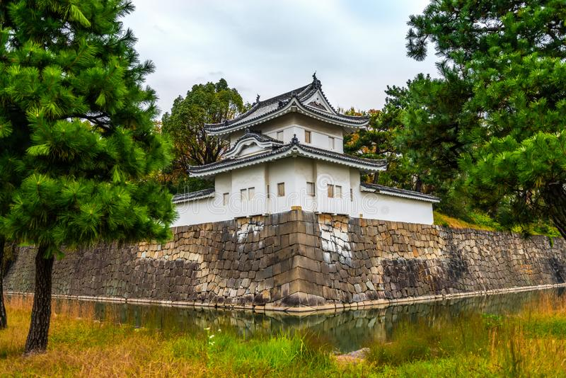 Nijo castle with water in moat, autumn in Kyoto, Japan royalty free stock photos