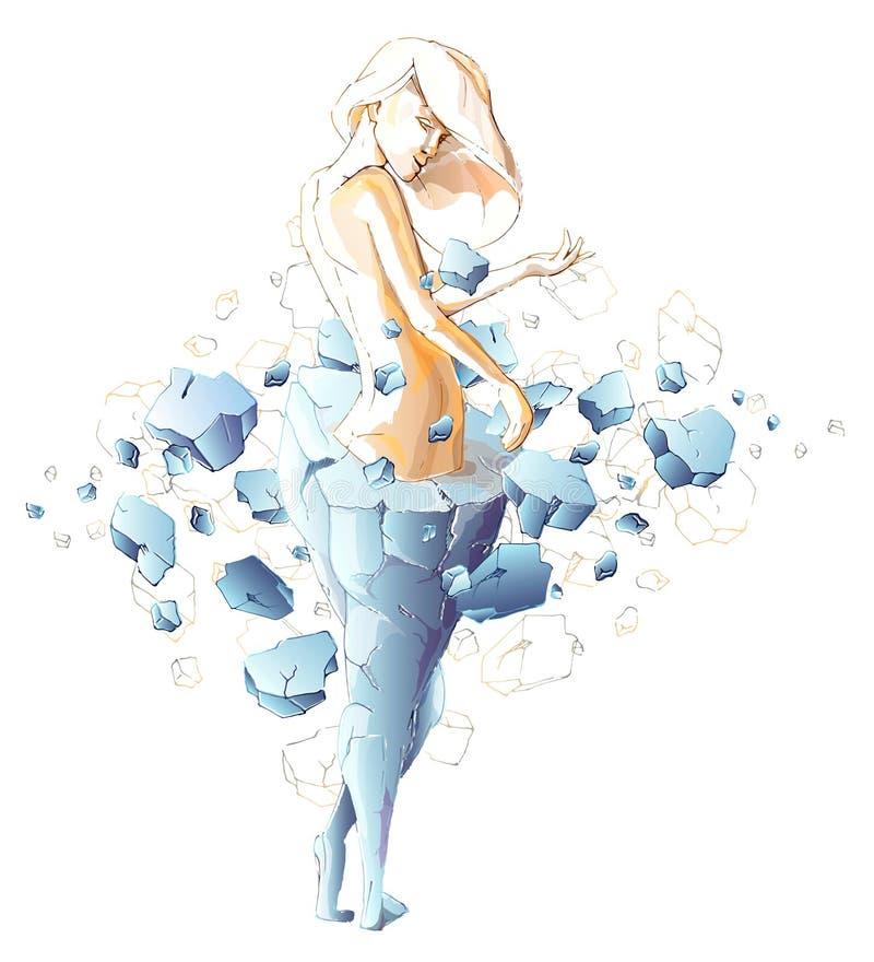 Nikła dziewczyna wyłania się od kamiennej statuy gruba kobieta ilustracja wektor