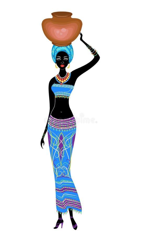Nik?a pi?kna afroameryka?ska dama Dziewczyna niesie garnek na jej garnku r?wnie? zwr?ci? corel ilustracji wektora ilustracja wektor