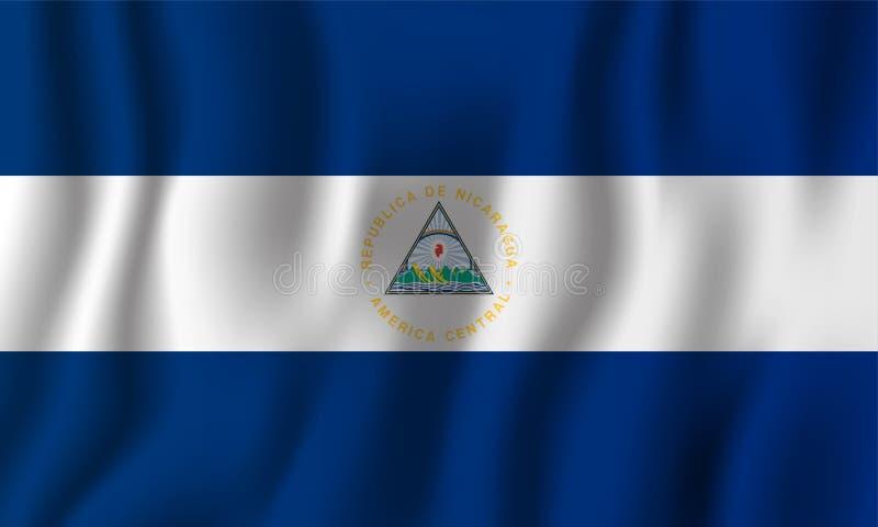 Nikaragua falowania flaga wektoru realistyczna ilustracja Krajowy kraju tła symbol tła dzień grunge niezależność retro ilustracja wektor