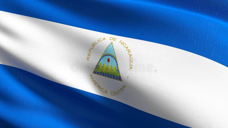 Nikaragua flagi państowowej dmuchanie w wiatrze odizolowywającym Oficjalny patriotyczny abstrakcjonistyczny projekt 3D renderingu ilustracja wektor