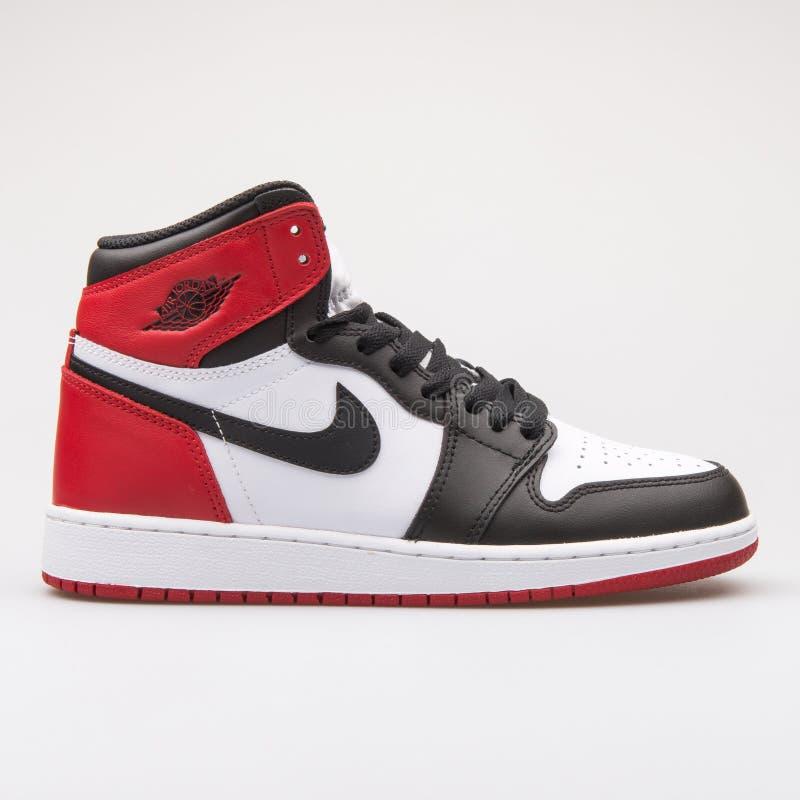 Free Nike Air Jordan 1 Retro High OG BG White, Black And Red Sneaker Stock Photos - 134948303