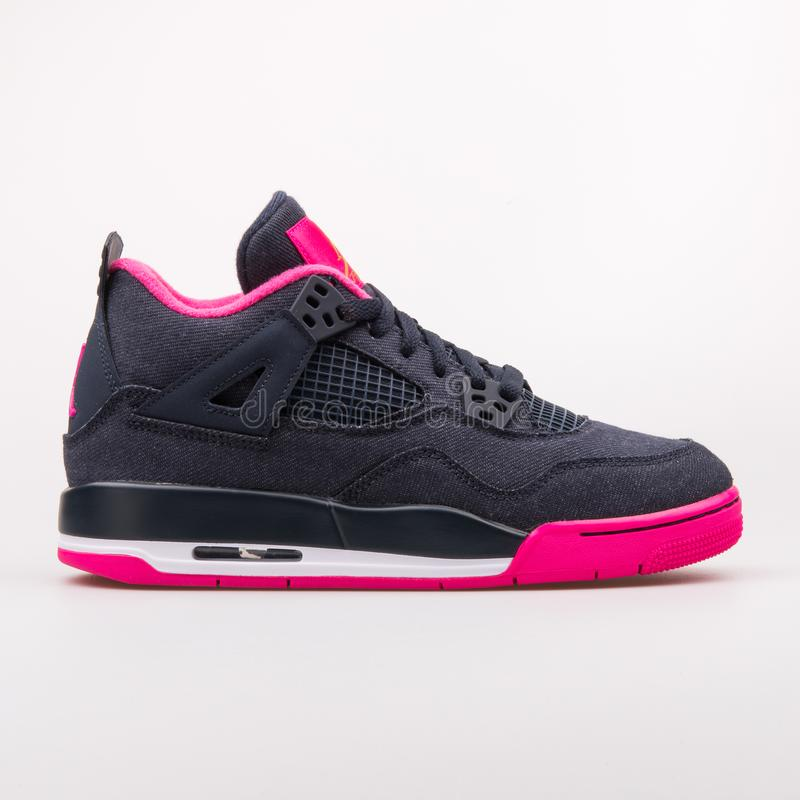 e06ea382 Nike Air Jordan 4 Retro dark obsidian and pink sneaker royalty free stock  photography