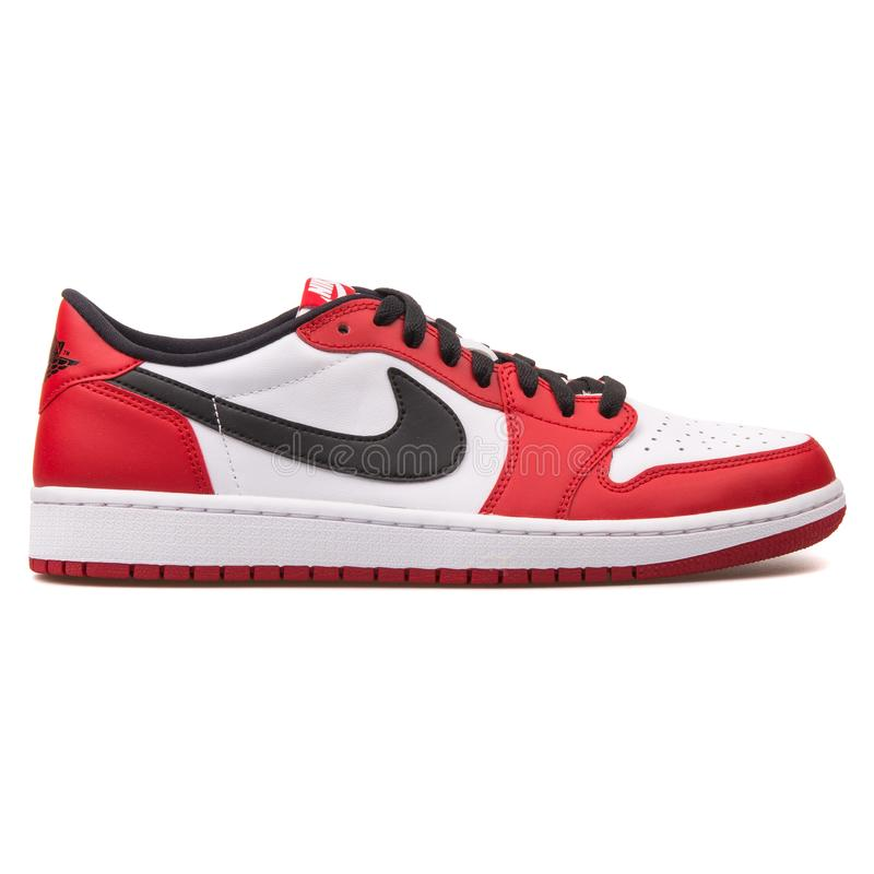 43f89a96 Nike Air Jordan 1 Retro Low OG red, white and black sneaker stock  photography
