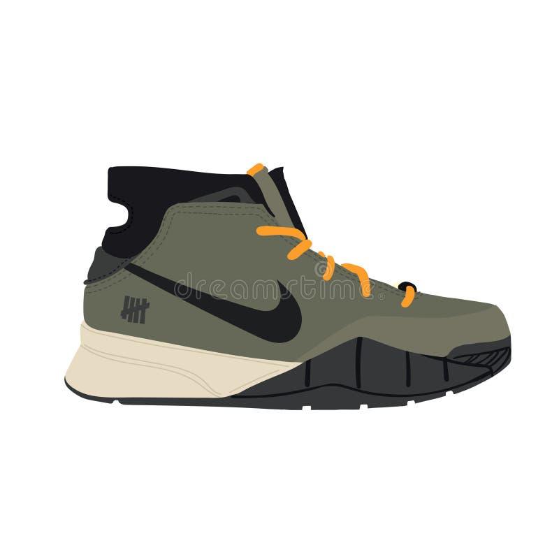 Nike Air Jordan sneaker addestratore Progettazione piana Illustrazione di vettore Nike Zoom Kobe IMBATTUTA 1 Protro Olive Flight  illustrazione di stock