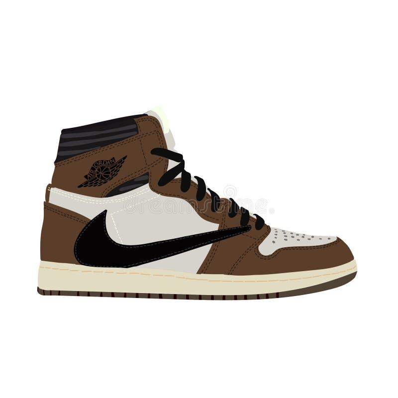Nike Air Jordan. Sneaker. Trainer. Flat design. Vector illustration. Jordan 1 Retro High Travis Scott - Vector stock illustration