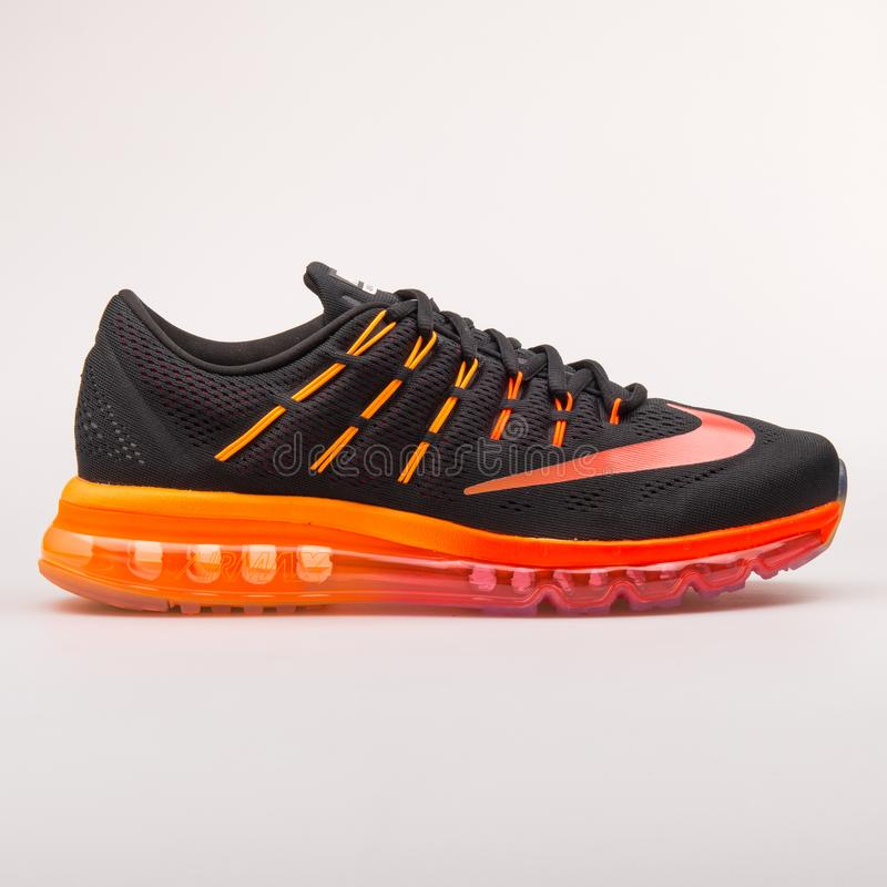 Nike Air Max 2016 black, red and orange sneaker. VIENNA, AUSTRIA - AUGUST 30, 2017: Nike Air Max 2016 black, red and orange sneaker on white background royalty free stock photography