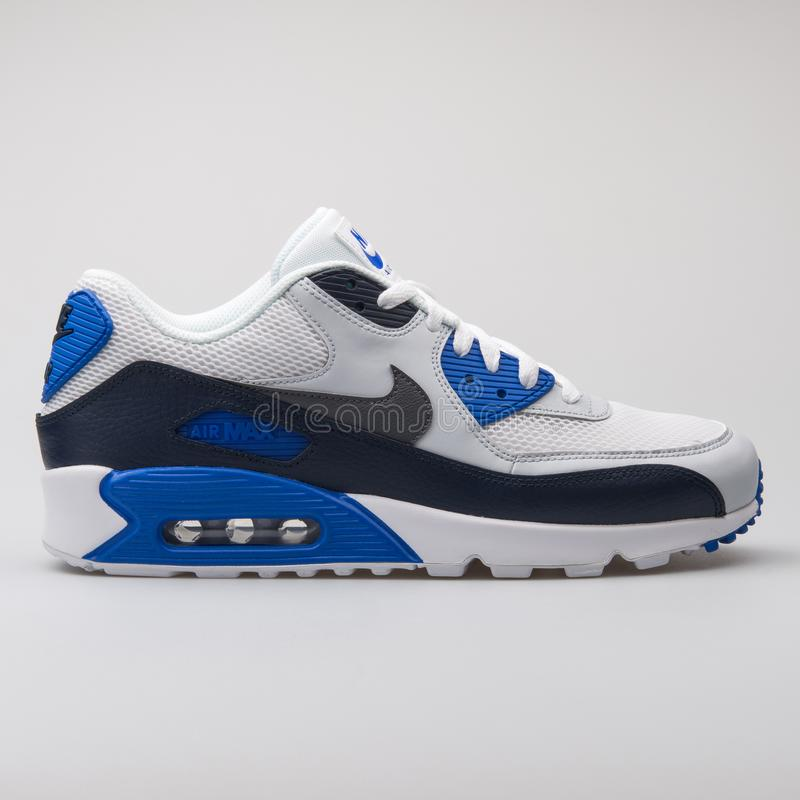 Nike Air Max 90 Essential White, Black And Blue Sneaker Editorial ...