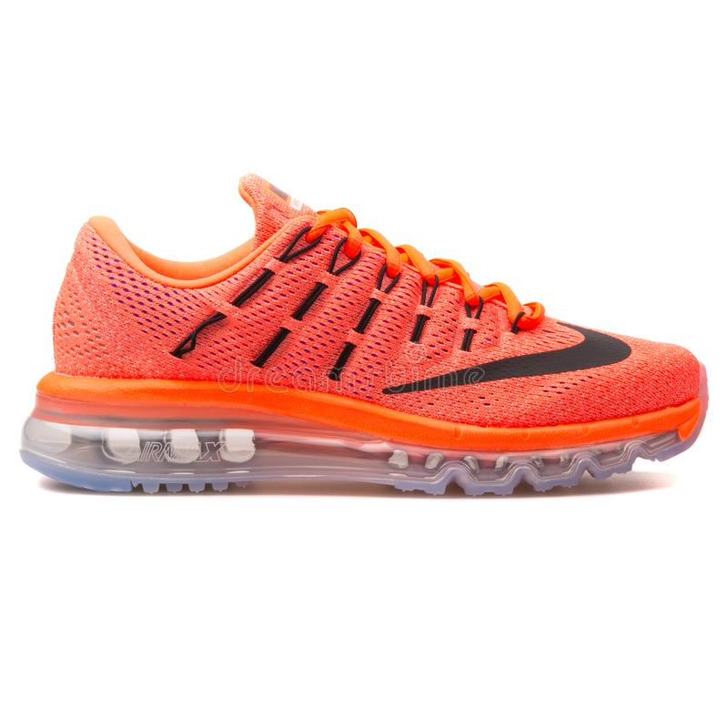 Nike Air Max 2016 hyper orange and black sneaker. VIENNA, AUSTRIA - AUGUST 10, 2017: Nike Air Max 2016 hyper orange and black sneaker on white background royalty free stock photography