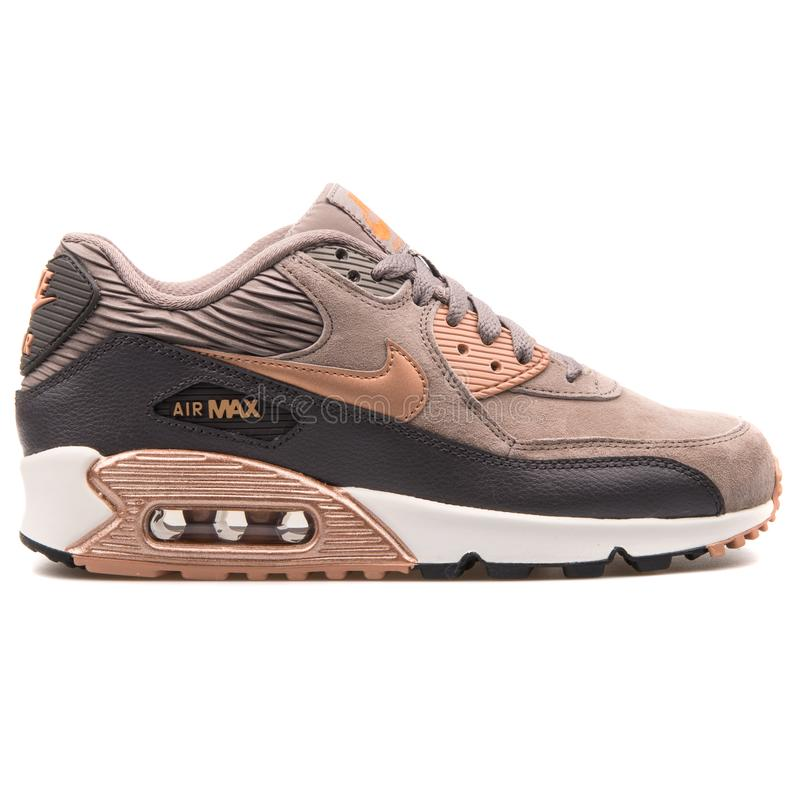 Nike Air Max 90 Leather Bronze And Beige Sneaker Editorial Image ...