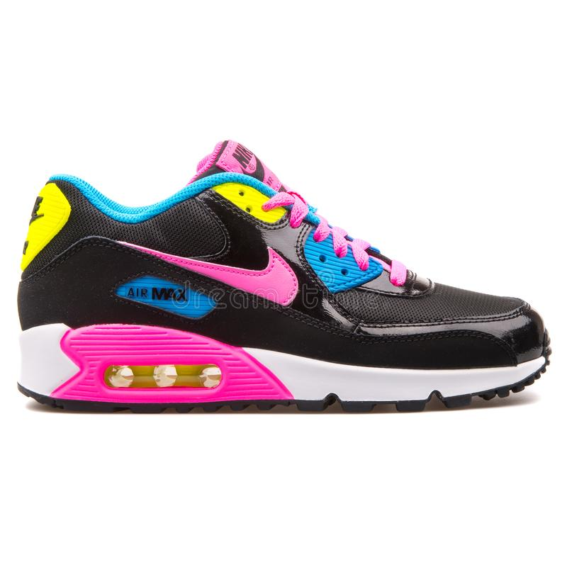 Nike Air Max 90 Mesh Black Pink Blue And Yellow Sneaker