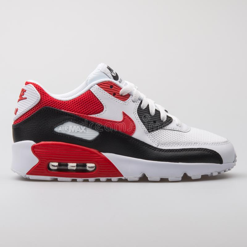 la nieve derivación Perforar  Nike Air Max 90 Mesh White, Black And Red Sneaker Editorial Stock Image -  Image of sneakers, leather: 145699419