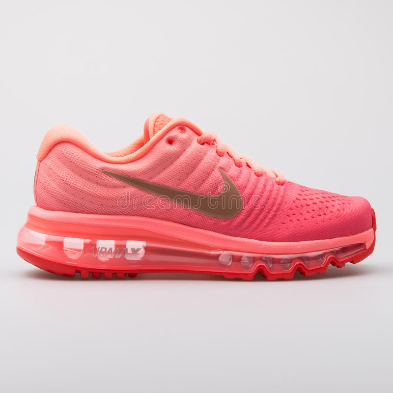 Nike Air Max 2017 orange, pink and red sneaker. VIENNA, AUSTRIA - AUGUST 7, 2017: Nike Air Max 2017 orange, pink and red sneaker on white background stock photos