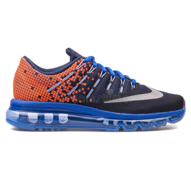 Nike Air Max 2016 Print obsidian blue and orange sneaker. VIENNA, AUSTRIA - AUGUST 10, 2017: Nike Air Max 2016 Print obsidian blue and orange sneaker on white stock images