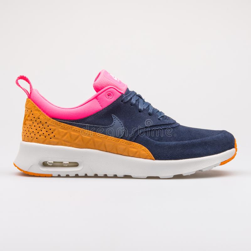 Nike Air Max Thea Premium Leather obsidian, pink and orange sneaker. VIENNA, AUSTRIA - AUGUST 28, 2017: Nike Air Max Thea Premium Leather obsidian, pink and royalty free stock photography