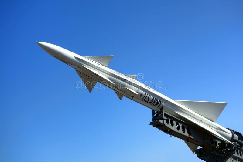 Nike Ajax Anti Aircraft Missile System Rocket velho fotos de stock royalty free