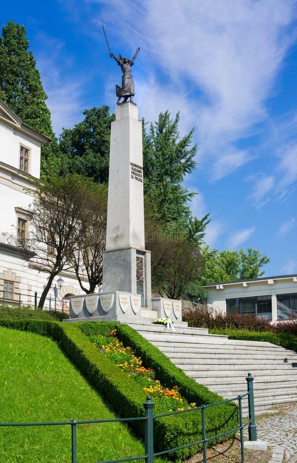 Nike cieszynska - Memorial to Polish Silesian legionnaires, Cieszyn, Poland. Nike cieszynska - Memorial to Polish Silesian legionnaires, in front of Hunting stock photo