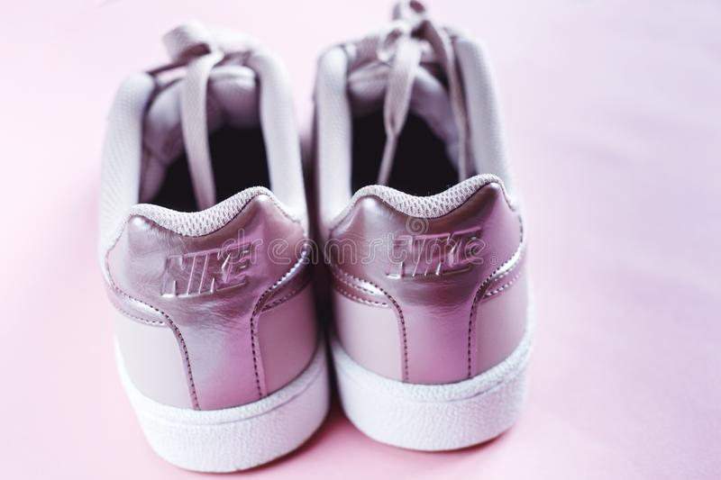 Nike Court Royale tennis rose pink sneaker on pink pastel  background. stock images