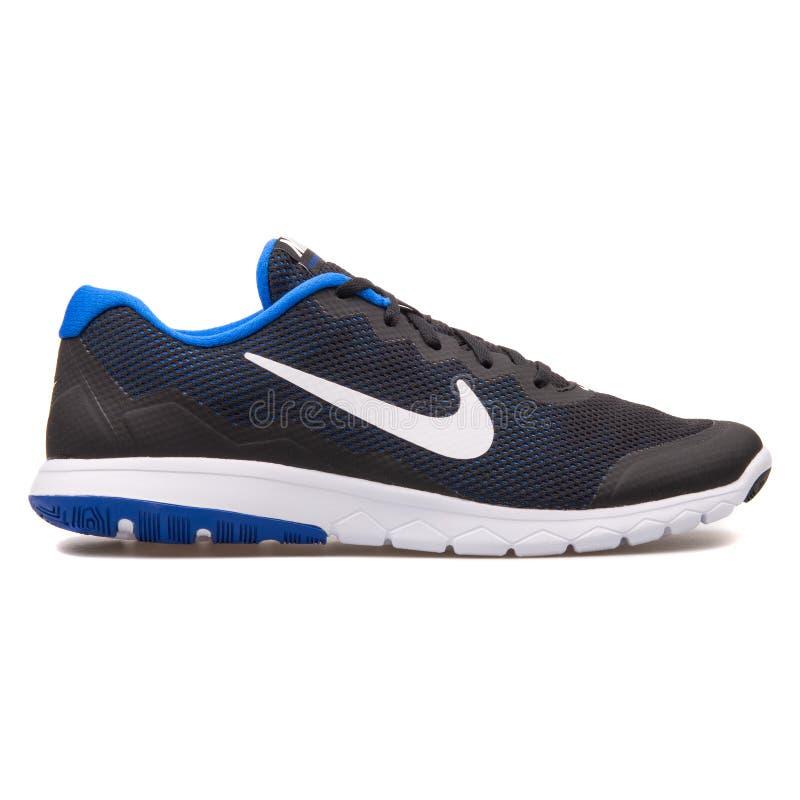 Nike Flex Experience RN 4 svart blå och vit gymnastiksko royaltyfri foto
