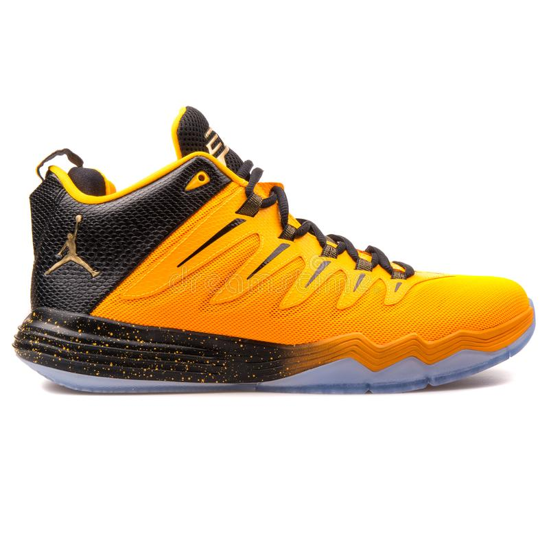 Nike Jordan CP3 IX orange sneaker. VIENNA, AUSTRIA - JUNE 14, 2017: Nike Jordan CP3 IX orange sneaker isolated on white background stock images