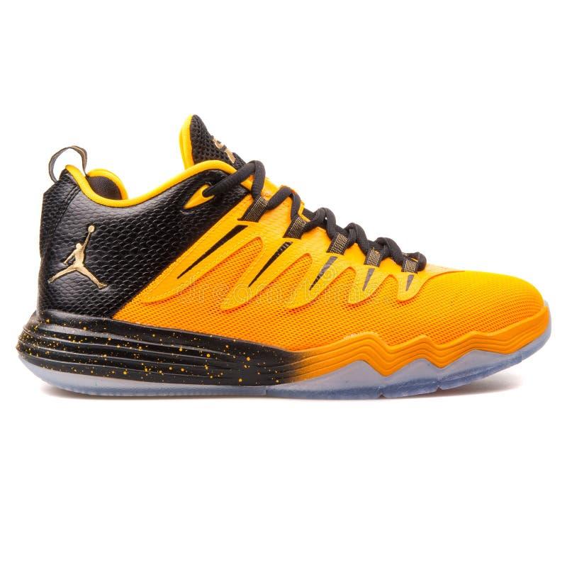 Nike Jordan CP3 IX orange sneaker. VIENNA, AUSTRIA - JUNE 14, 2017: Nike Jordan CP3 IX orange sneaker isolated on white background royalty free stock photo
