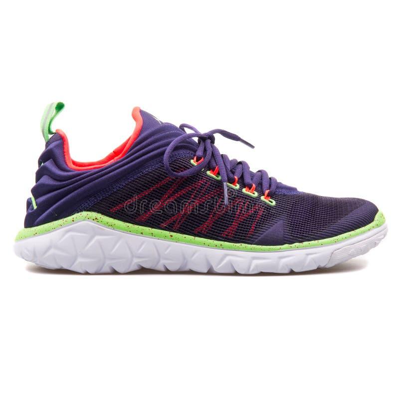 Nike Jordan Flight Flex Trainer purpurfärgad, vit och grön gymnastiksko royaltyfri bild