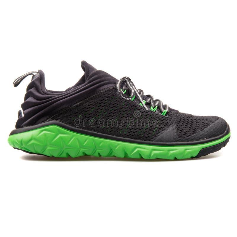 Nike Jordan Flight Flex Trainer svart och grön gymnastiksko arkivbild