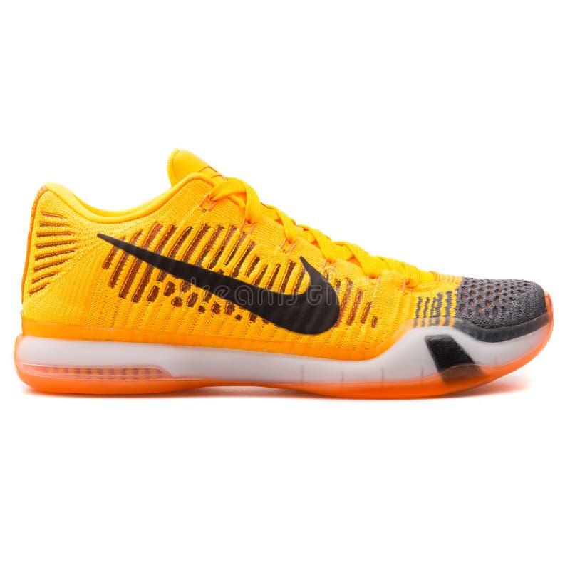 Nike Kobe X Elite Low orange and black sneaker. VIENNA, AUSTRIA - AUGUST 25, 2017: Nike Kobe X Elite Low orange and black sneaker on white background stock photography