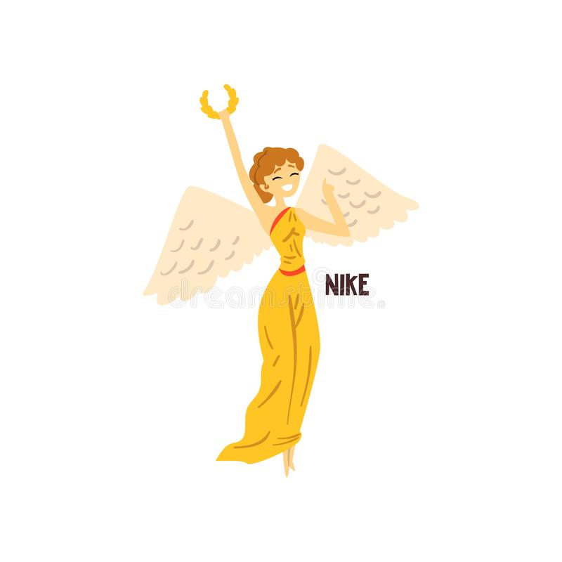 Nike Olympian Greek Goddess, ancient Greece mythology character vector Illustration on a white background. Nike Olympian Greek Goddess, ancient Greece mythology vector illustration