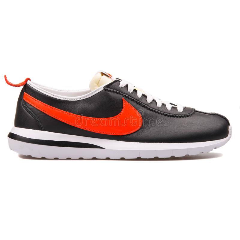 Nike Roshe Cortez NM Leather black, white and orange sneaker. VIENNA, AUSTRIA - AUGUST 10, 2017: Nike Roshe Cortez NM Leather black, white and orange sneaker on royalty free stock photos