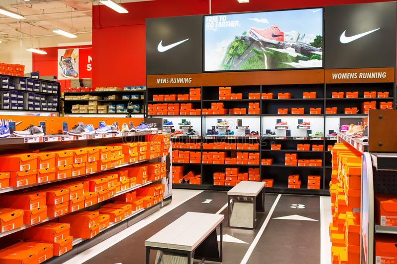 Nike Section alle merci di sport di autorità di sport fotografia stock